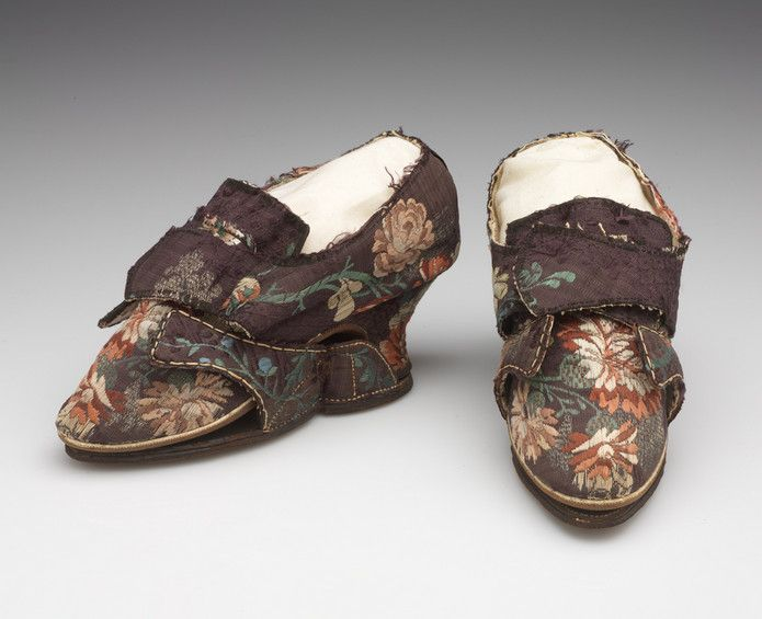 Shoes and matching clogs Unknown artist, English, England; France Shoes and matching clogs, 1740-1749 Silk brocade, leather soles, lined with linen(shoes); silk brocade, leather soles, lined with kid (clogs) 09.840