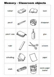 English worksheet: Memory with classroom objects