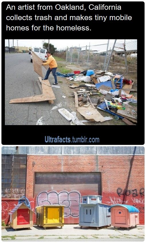 """Oakland artist, Gregory Kloehn, turns trash into homes for the homeless. Kloehn's """"little homeless homes"""" are about the size of a sofa, but they come with a pitched roof to keep out the rain and wheels so recipients can roll them around town. So far Kloehn has built 10 of the tiny houses using mostly illegally dumped trash that piles up on the streets in a semi-industrial section of West Oakland."""