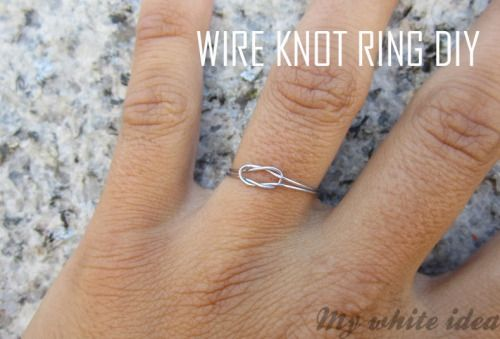 DIY Delicate Wire Knot Ring Tutorial from My White Idea here. For more knot jewelry and knot DIYs (gorgeous Anthropoligie knockoff necklace here and a loose celtic knot necklace here) go here: truebluemeandyou.tumblr.com/tagged/knots and pages of easy wire jewelry DIYs go here: truebluemeandyou.tumblr.com/tagged/wire