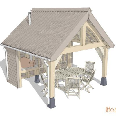 Cabin with Outdoor eating area so you can eat Alfresco whatever the weather! www.lifespacecabins.co.uk