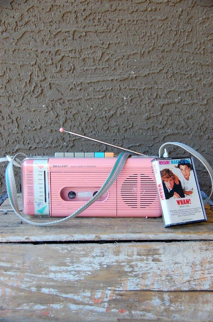 80s Bubblegum Pink Cassette Player/Recorder/Radio by Sharp  I miss mine!