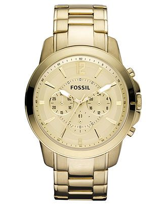Fossil Watch, Men's Chronograph Grant Gold Ion Plated Stainless Steel Bracelet 44mm FS4724 - All Watches - Jewelry & Watches - Macy's