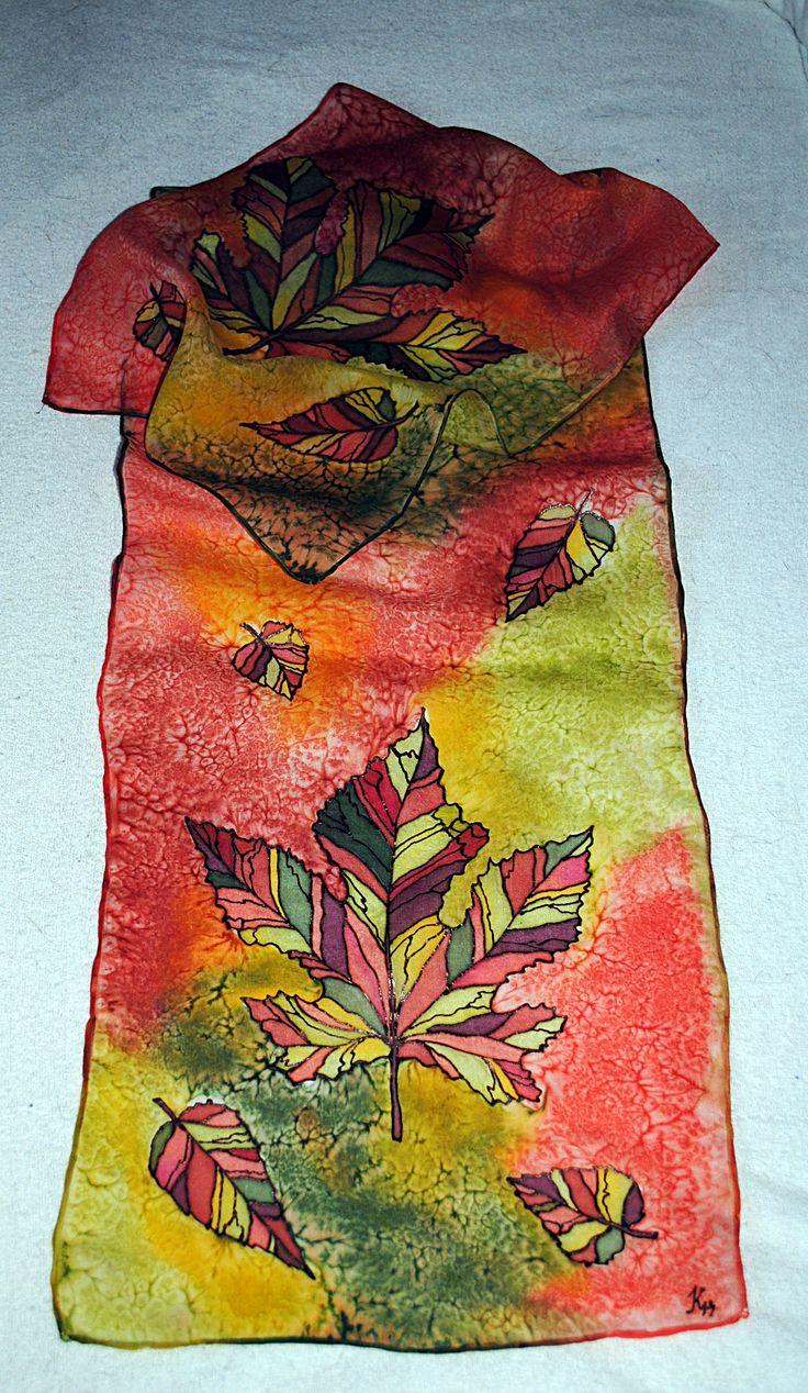 Silk scarf Autumn leaf Hedvábný šál Podzimní list 28x130 cm