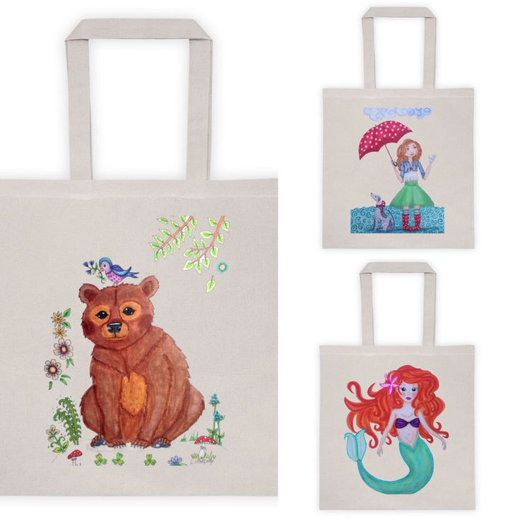 New tote in shop! Bear tote, mermaid tote and Rainyday tote. Look for more totes at LumisaDesign! With the discount code CELEBRATE20 you can get 20%off.  Only until 2-28!