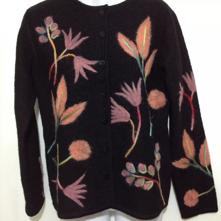 Susan bristol boiled wool sweater with embroidered flowers