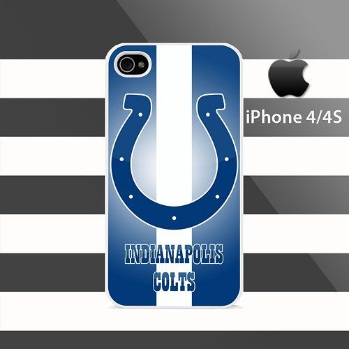 Indianapolis Colts Strips White iphone 4 4s Rubber Case Cover
