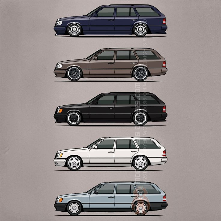 Stack of Mercedes Benz W124 S124 E-Class