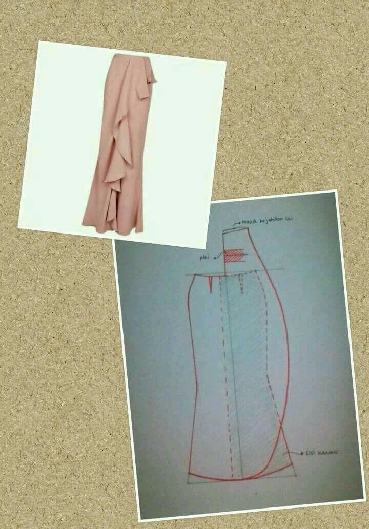 waterfall drape skirt pattern drafting