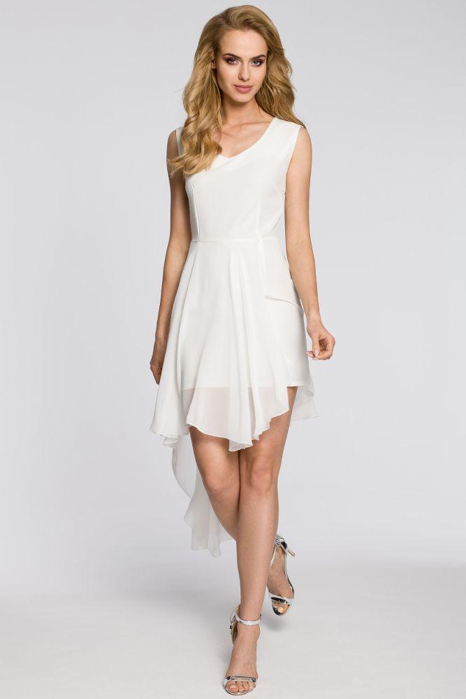 Cm2048 Wieczorowa Asymetryczna Sukienka Mini Z Tiulowym Dolem Ecru Unique Fashion Fashion Fashion Design