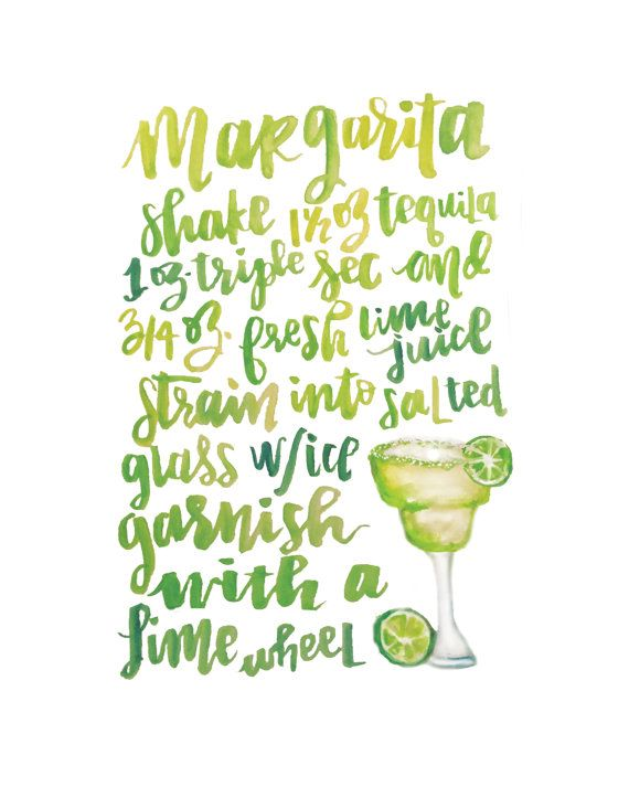 On the Rocks or Frozen? Salt or no salt? One thing is for sure, Margaritas are always delicious. Spice up your living area with this fun, hand-lettered and illustrated cocktail recipe. This frame-ready digital download is made from an original watercolor illustration. Original piece