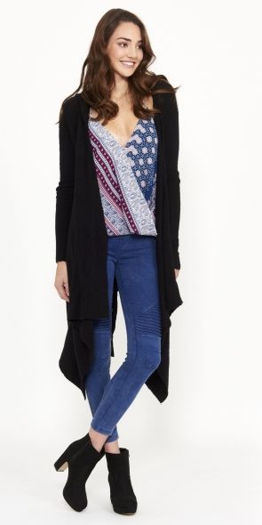 The Stevie Cardi - Black- Hooded for extra warmth!