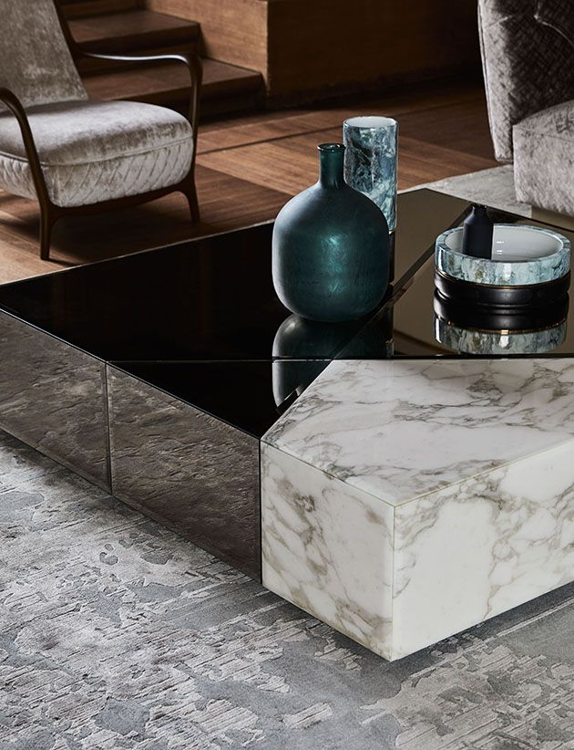 Small Table With Mirror And Marble By Opera Contemporary Living Room Table Coffee Table Design Coffee Table Vintage