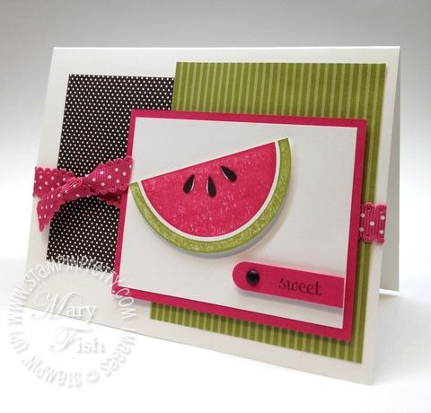 h: Mary Fish, Card Idea, Summer Card, Cute Idea, Stamps Sets, Embossing Powder, Watermelon Card, Sweet Watermelon, Watermelon Slices