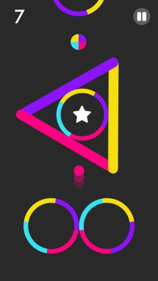 Color Switch = a game where you tap the screen to move the colored ball through a series of neon obstacles