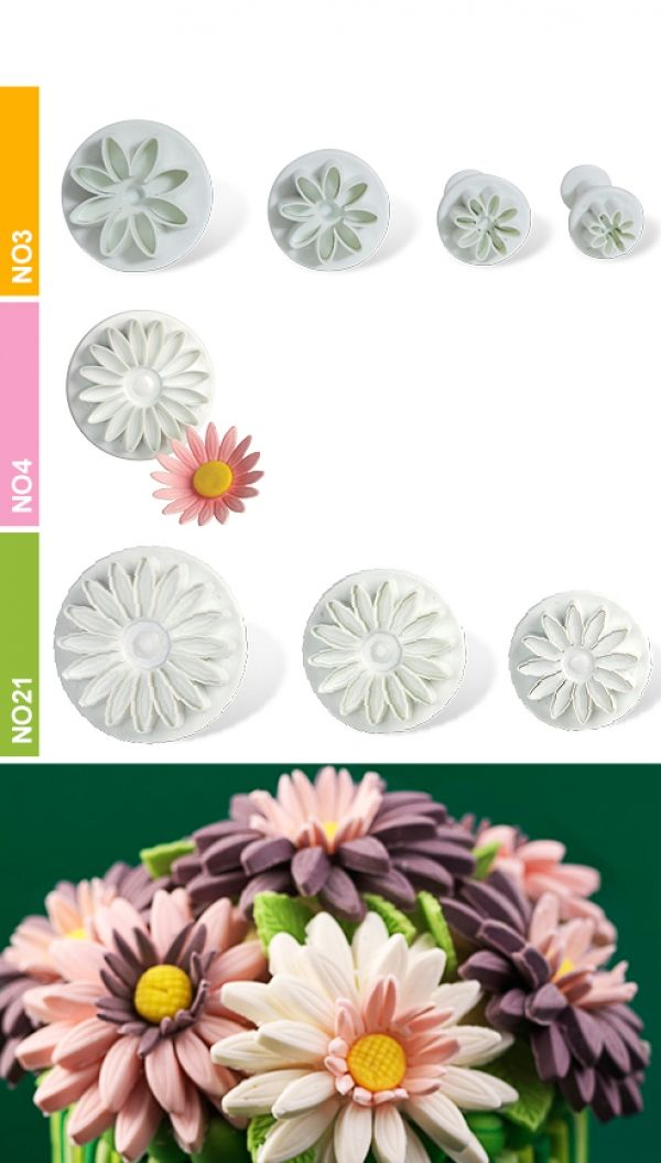 Dough - sugarpaste cutter daisy 3D set 3pcs.