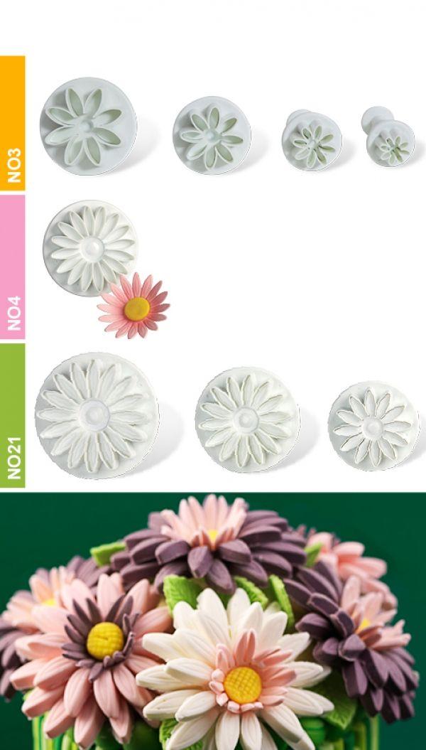 Dough - sugarpaste cutter daisy 3D set 3pcs.