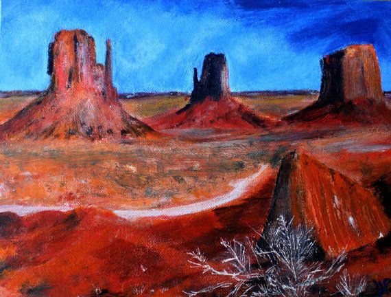 Utah Desert Landscape Red Mountains America Acrylic Painting On 12 Quot X 9 Quot Canvas Board Greece