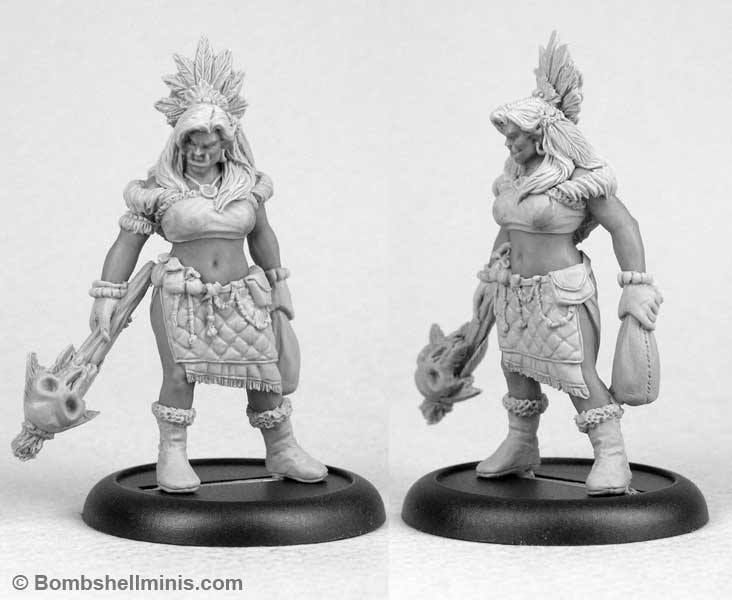 Mythga the Orc Shaman for Bombshell Miniatures. Sculpted in Beesputty and Kraftmark ProCreate. https://www.kickstarter.com/projects/bombshellminis/bombshell-babes-2-female-miniatures/posts/1361448      (732×600)