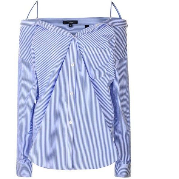Theory Tamalee Shirt (10,500 THB) ❤ liked on Polyvore featuring tops, striped button up shirt, blue striped shirt, oversized tops, blue stripe shirt and stripe top