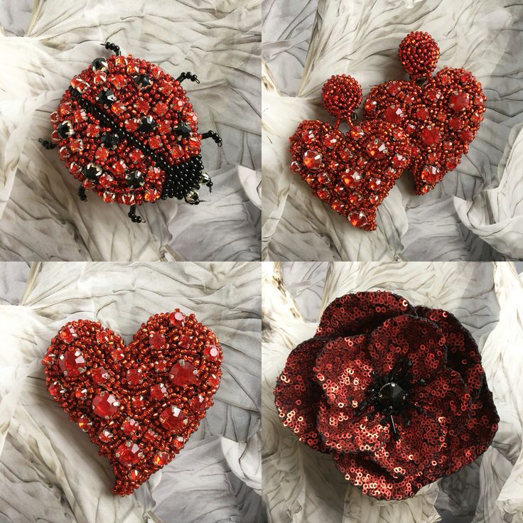 Red brooches