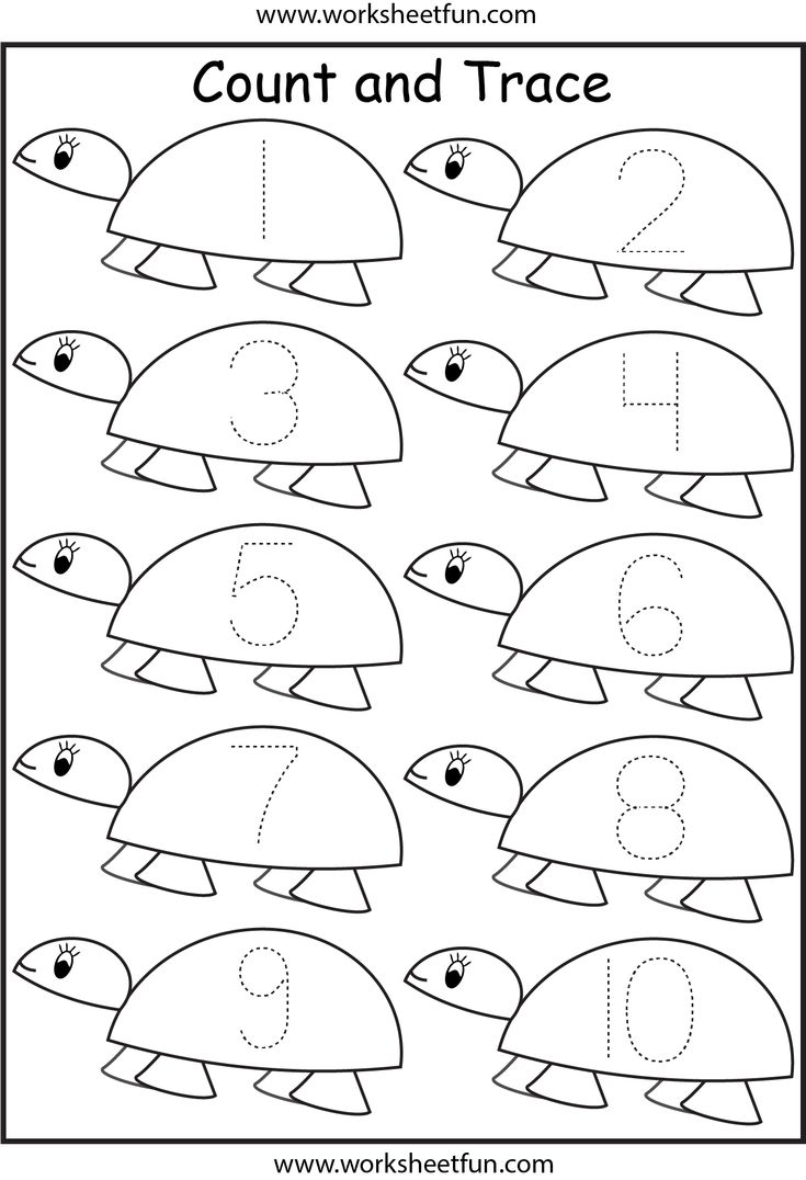Numbers 1 for stylish free printable color by numbers coloring pages - Number Tracing Worksheets For Kindergarten 1 10 Ten Worksheets