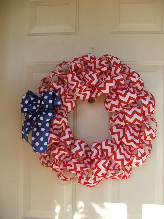 Patriotic Wreath, USA, 4th of July, Red white and blue wreath, Red Chevron Ribbon Wreath with Blue and White Polka Dot Bow by TowerDoorDecor, $30.00