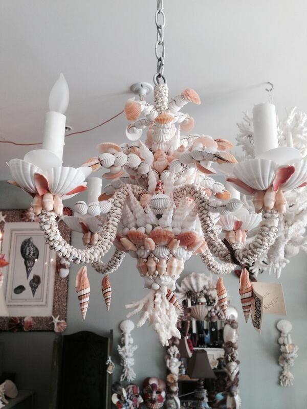 Florida Design Seashell Crafts Shell Art Beach Candelabra Seaside Decor Sea Shells Chandelier Lamps Chandeliers