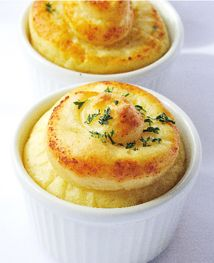 OMG baked mashed potato ramekins. Such a good presentation idea! I'd sprinkle chives instead of parsley