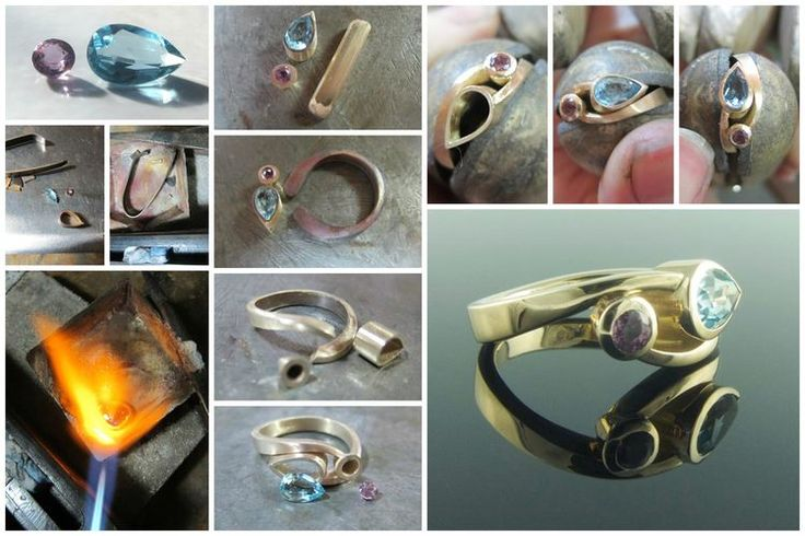 Recycled gold sapphire and aquamarine ring