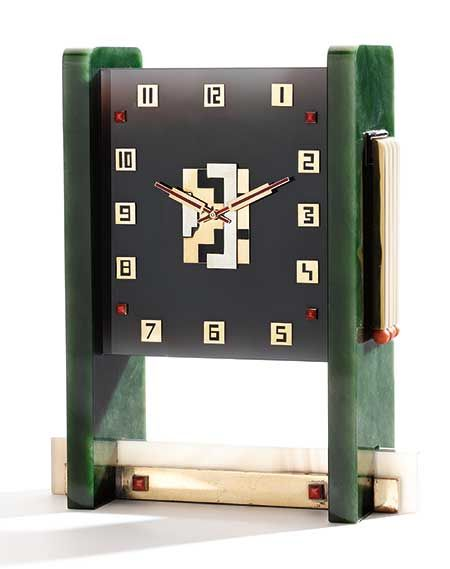 Art Deco Time by Boucheron | Sotheby's  In the late 1920s the House of Boucheron began exploring designs for clocks.   A Rare Art Deco Nephrite, Agate, Coral and Enamel Table Clock, Movement by Vacheron Constantin,  Case by Verger Frères, Retailed by Boucheron, Paris  Estimate: 80,000-120,000 USD