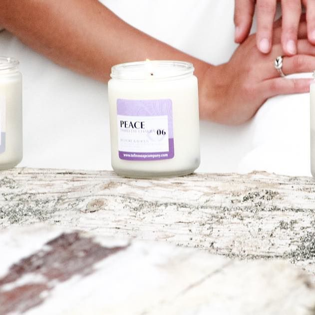 Bohemian Wedding Vibes Peace + Love ☮💗 Gemstone Candle Collection  @kalijanephotography  @compassweddings | Handcrafted Natural Soaps