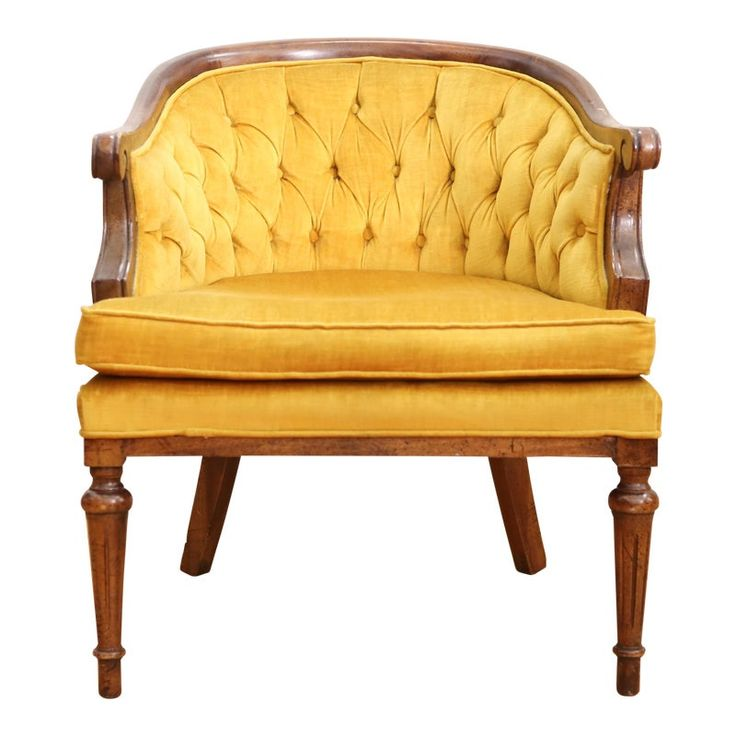 Vintage Tufted Velvet Mustered Yellow Chair Yellow chair