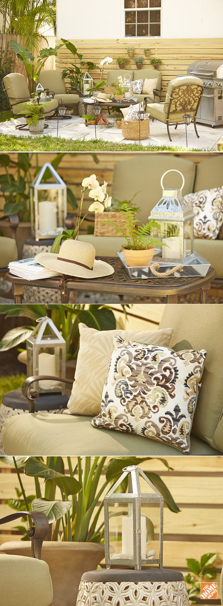 This Miami patio got a fresh look from design blogger Gloribell Lebron. See how she used the Edington seating set from Hampton Bay as the centerpiece of her earthy outdoor haven. Coordinating modern pillows, outdoor lanterns, and plenty of succulents and planters helped her create a backyard living space anyone could love. See it on The Home Depot Blog.