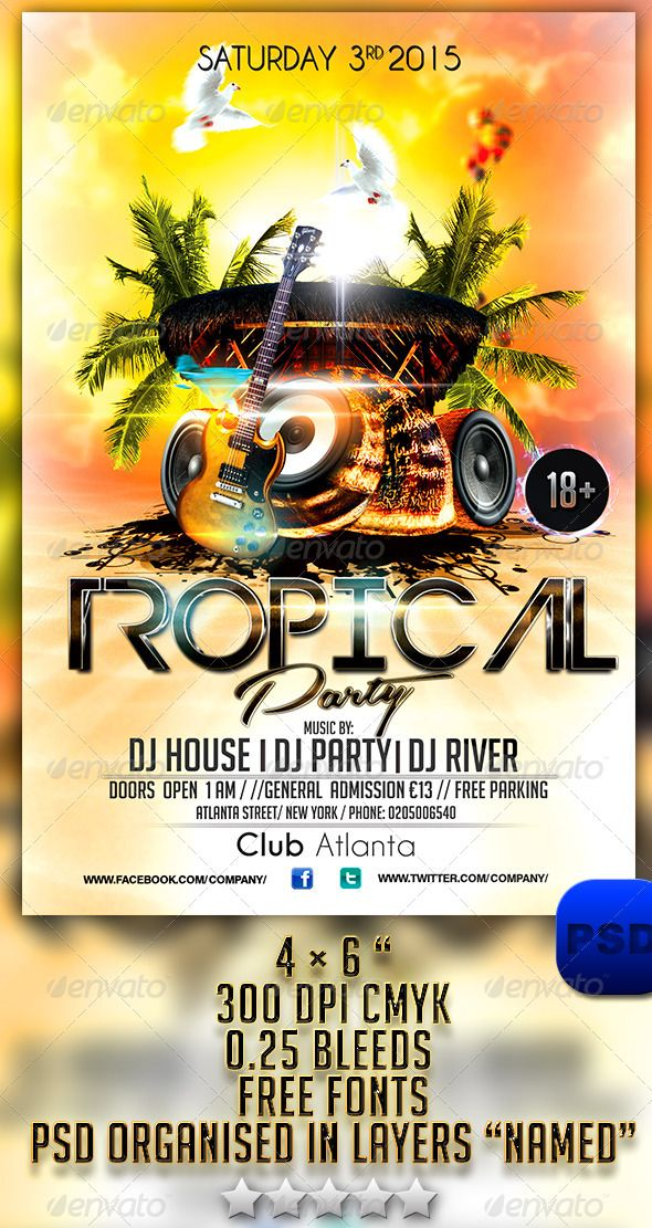 tropical party flyer template events flyers download here https