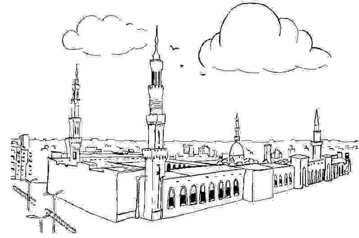 masjid colouring page