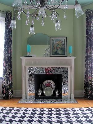 mirrored mosaic fireplace surround