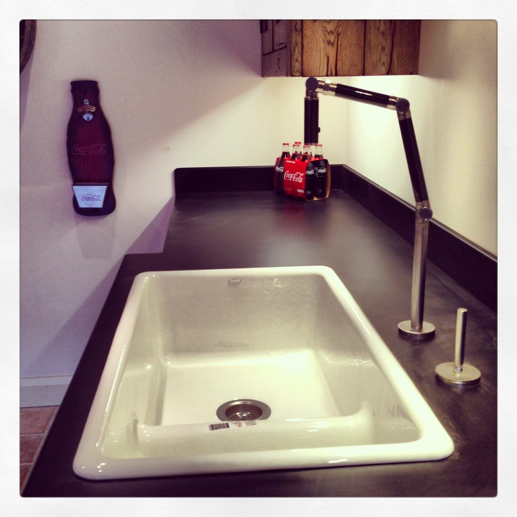 The Kohler Carbon tap and cast iron sink.