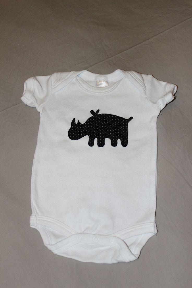Rhino appliqued onesie