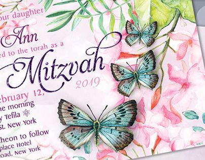 "Check out new work on my @Behance portfolio: ""Butterfly Bat Mitzvah Invitation"" http://be.net/gallery/60359885/Butterfly-Bat-Mitzvah-Invitation"