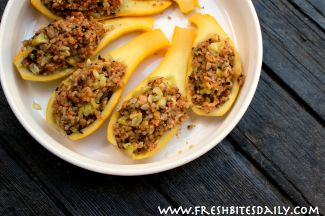 Stuffed summer squash (omit or replace bread crumbs with mozzarella)