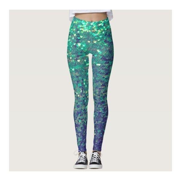 fabulous mermaid faux aqua blue sequin leggings ($66) ❤ liked on Polyvore featuring pants and leggings