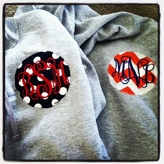 Women's Hoodie Sweatshirt with Monogram Patch Polka by prissypots, $30.00