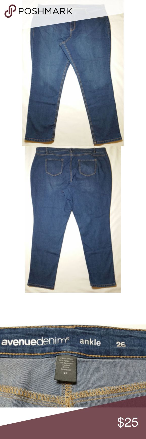 """Avenue Women Jeans Stretch Ankle High Rise 0296 Avenue Women Jeans Stretch Denim Ankle High Rise Blue Plus Size 26 x L29.5  Gently used.  On the back rise and the right leg inseam seams are a little loose, barely noticeable, no holes (see last 2 photos).   - Zipper and button closure. - 5 Pockets. - Medium Wash - 78% Cotton, 20% Polyester, 2% Spandex  Plus Size 26 (see photos for more measurements). Approx. measurements laying flat Waist: 22.5"""" Front Rise: 14.25"""" Inseam: 29.5"""" Ankle Opening…"""