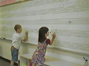 Relay Race Game--students learn/write music symbols with a fun game.
