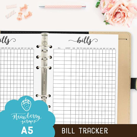 Bill planner inserts: BILL TRACKER Bill pay by StrawberryScraps