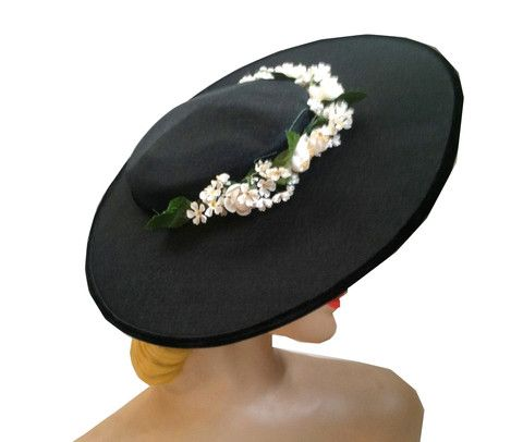 Sweet and Sassy Black Wide Brim Hat w/ White Flowers circa 1940s - Dorothea's Closet Vintage