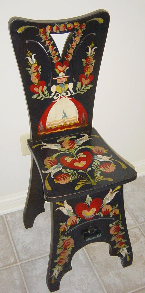 Black and red handpainted scandinavian folk chair by Peter Hunt