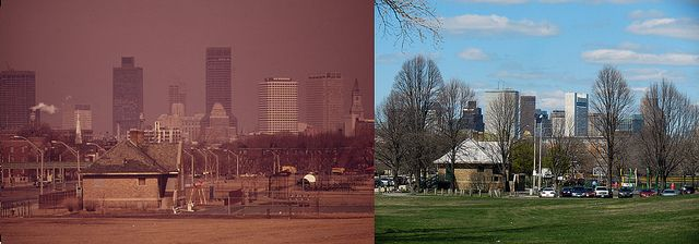 """Moakley Park, South Boston, MA 1973 & 2012  'Then' Documerica Photo: March, 1973 Smog over Boston - Looking North from Columbia Point Traffic Circle by Ernst Halberstadt (1910-1987).  'Now' State of the Environment Photo: April, 2012 Boston Skyline from Joe Moakley Park -- Contemporary view of Ernst Halberstadt's original DOCUMERICA photo of """"Smog over Boston - Looking North from Columbia Point Traffic Circle,"""" by Roger Archibald."""