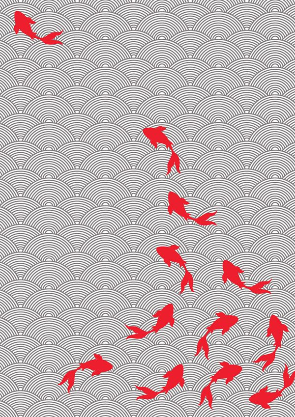 Asian style fabric design koi motif on behance fabric for Koi fish print fabric